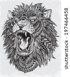 hand drawn abstract lion vector ... | Shutterstock .eps vector #197466458