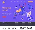 marketing funnel isometric...