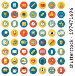school icons flat design vector ... | Shutterstock .eps vector #197471696