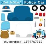 funny bear wearing police cap... | Shutterstock .eps vector #1974767312