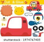 funny lion wearing helmet on... | Shutterstock .eps vector #1974767405