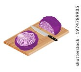 red cabbage slice  knife and... | Shutterstock .eps vector #1974789935