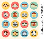 houses vector colorful flat... | Shutterstock .eps vector #197484302