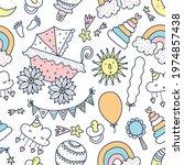 children's linear seamless... | Shutterstock .eps vector #1974857438