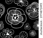 exotic doodle flowers black on... | Shutterstock .eps vector #1974872495