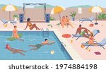 people swimming and relaxing by ...   Shutterstock .eps vector #1974884198