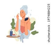 woman take care of face skin...   Shutterstock .eps vector #1974884225