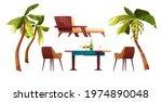 palms  chaise longue  beach... | Shutterstock .eps vector #1974890048