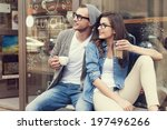 portrait of stylish couple at... | Shutterstock . vector #197496266