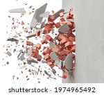destroying the wall with red...   Shutterstock . vector #1974965492