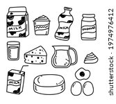 set of dairy product doodle...   Shutterstock .eps vector #1974976412