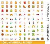 100 universal icons set.... | Shutterstock .eps vector #1974980678