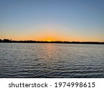 Sunset over Silver Lake in Rockford, Michigan.