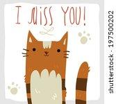i miss you postcard. vector...