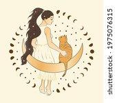 celestial girl and a cat sacred ...   Shutterstock .eps vector #1975076315