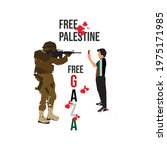palestine boy showing the red...   Shutterstock .eps vector #1975171985