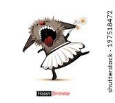 happy birthday smile dancer cat ... | Shutterstock .eps vector #197518472