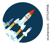 rocket icons start up and... | Shutterstock .eps vector #197519948