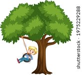 kid playing tire swing under... | Shutterstock .eps vector #1975229288
