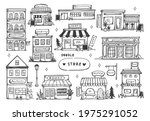 set of hand drawn store front  | Shutterstock . vector #1975291052