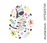 zebra with flowers and... | Shutterstock .eps vector #1975325735
