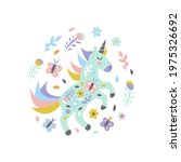 unicorn with flowers and...   Shutterstock .eps vector #1975326692