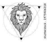 Ornate Lion Head Over Sacred...