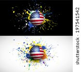 usa flag with soccer ball dash... | Shutterstock .eps vector #197541542