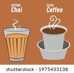 cutting chai  indian tea glass  ... | Shutterstock .eps vector #1975433138