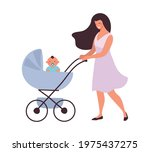 mom walks with the baby in a... | Shutterstock .eps vector #1975437275