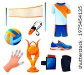 set of valleyball equipment or... | Shutterstock .eps vector #1975454135