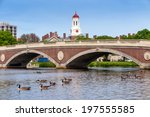 Stock photo john w weeks bridge and clock tower over charles river in harvard university campus in boston with 197555585