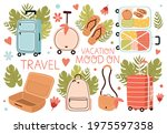 set of travel stuff. luggage... | Shutterstock .eps vector #1975597358