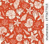 hand drawn sea shells  fossils  ... | Shutterstock .eps vector #1975677515