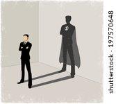 businessman casting superhero... | Shutterstock .eps vector #197570648