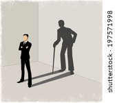 young man casting shadow of old ...   Shutterstock .eps vector #197571998
