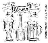 vector chalk beer on white...   Shutterstock .eps vector #197575082