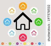 homes   colorful vector icon set | Shutterstock .eps vector #197578532