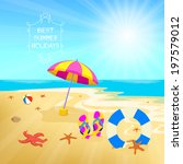 summer holiday background... | Shutterstock . vector #197579012