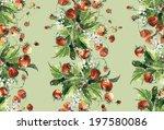 strawbeeries seamless garland | Shutterstock . vector #197580086
