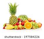 assortment of exotic fruits... | Shutterstock . vector #197584226