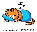 little sleeping tiger with the... | Shutterstock .eps vector #1975853132