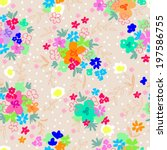 colorful little ditsy flowers   ... | Shutterstock .eps vector #197586755