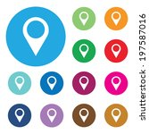 set of bright map pointers | Shutterstock .eps vector #197587016