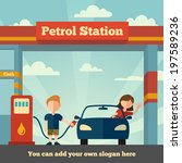 young man helps girl to fuel...