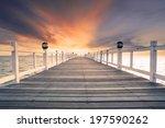 Old Wood Bridge Pier With...