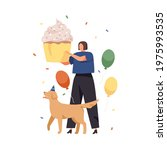 happy woman and dog with huge... | Shutterstock .eps vector #1975993535