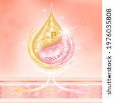 drop serum pink collagen... | Shutterstock .eps vector #1976035808