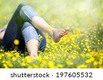 relaxing in a meadow full of... | Shutterstock . vector #197605532