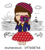 cute girl illustration with... | Shutterstock .eps vector #197608766